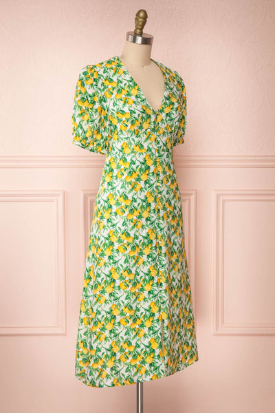 Marketa Green Patterned Midi Dress side view | Boutique 1861