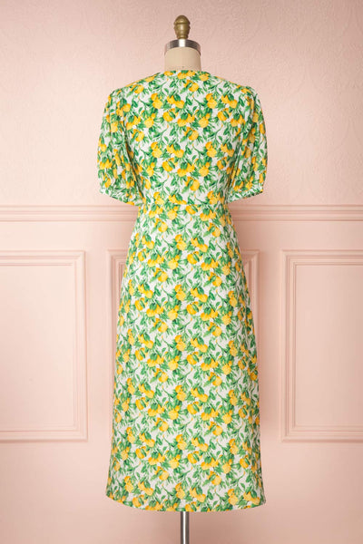 Marketa Green Patterned Midi Dress back view | Boutique 1861