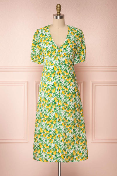 Marketa Green Patterned Midi Dress | Boutique 1861