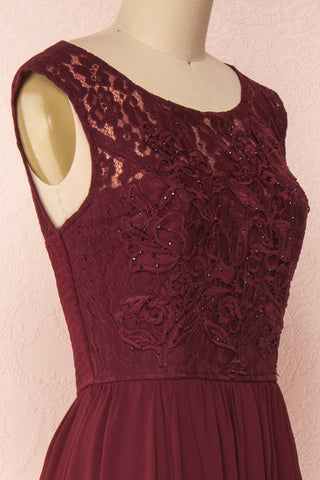 Marnie Burgundy Lace Gown | Robe Longue side close up | Boudoir 1861