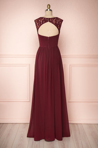 Marnie Burgundy Lace Gown | Robe Longue back view | Boudoir 1861