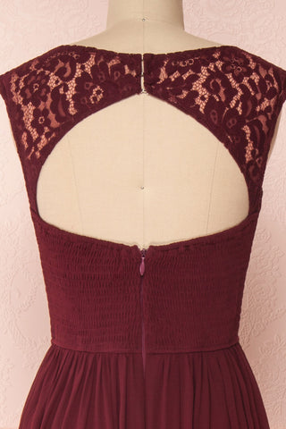 Marnie Burgundy Lace Gown | Robe Longue back close up | Boudoir 1861