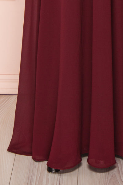 Marnie Burgundy Lace Gown | Robe Longue skirt close up | Boudoir 1861