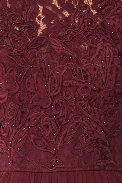 Marnie Burgundy Lace Gown | Robe Longue fabric close up | Boudoir 1861