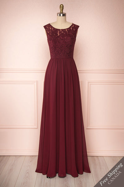Marnie Burgundy Lace Gown | Robe Longue front view FS | Boudoir 1861