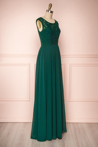 Marnie Emerald Green Lace Gown | Robe Longue side view | Boudoir 1861