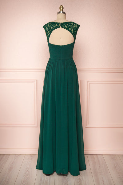 Marnie Emerald Green Lace Gown | Robe Longue back view | Boudoir 1861