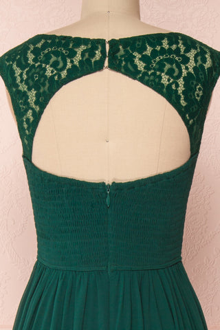 Marnie Emerald Green Lace Gown | Robe Longue back close up | Boudoir 1861