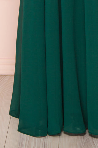 Marnie Emerald Green Lace Gown | Robe Longue skirt close up | Boudoir 1861