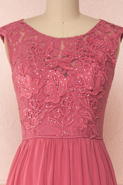 Marnie Rose Pink Lace Gown | Robe Longue front close up | Boudoir 1861