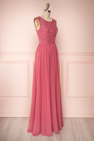 Marnie Rose Pink Lace Gown | Robe Longue side view | Boudoir 1861