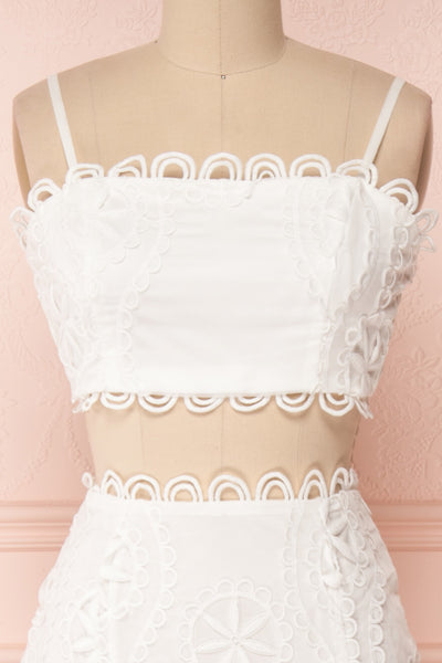 Marwah White Embroidered Bridal Two Piece Set | Boudoir 1861 front close-up
