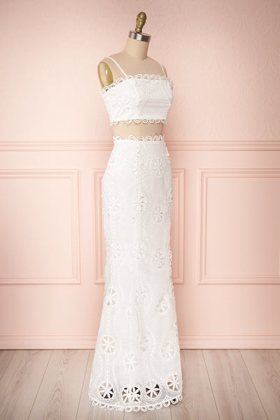 Marwah White Embroidered Bridal Two Piece Set | Boudoir 1861 side view