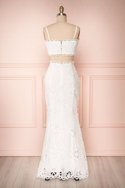 Marwah White Embroidered Bridal Two Piece Set | Boudoir 1861 back view