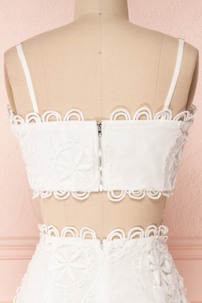 Marwah White Embroidered Bridal Two Piece Set | Boudoir 1861 back close-up