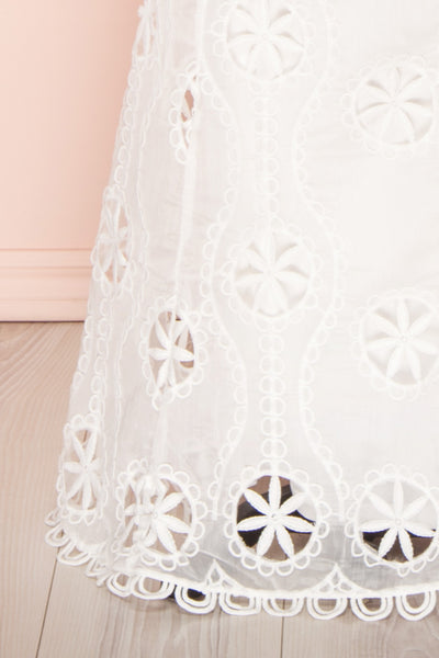Marwah White Embroidered Bridal Two Piece Set | Boudoir 1861 bottom close-up