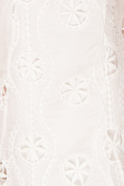 Marwah White Embroidered Bridal Two Piece Set | Boudoir 1861 fabric detail