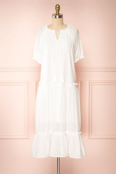 Mativa White Embroidered Short Sleeve Dress | Boutique 1861 front view