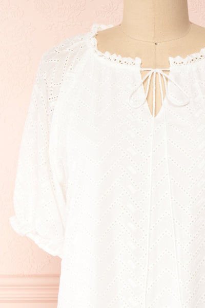Mativa White Embroidered Short Sleeve Dress | Boutique 1861 front close-up