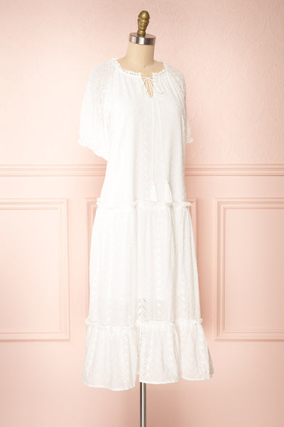 Mativa White Embroidered Short Sleeve Dress | Boutique 1861 side view