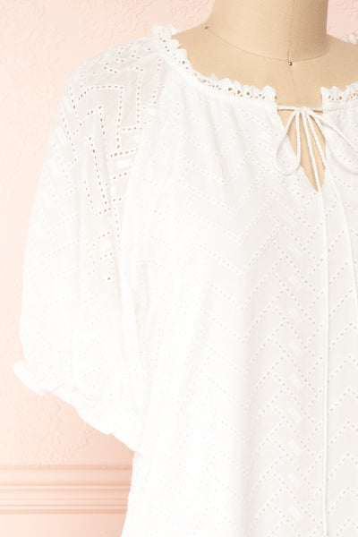 Mativa White Embroidered Short Sleeve Dress | Boutique 1861 side close-up