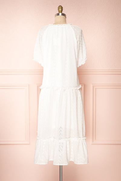 Mativa White Embroidered Short Sleeve Dress | Boutique 1861 back view