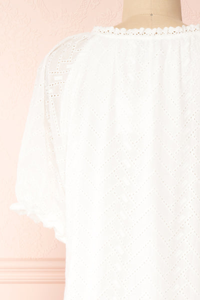 Mativa White Embroidered Short Sleeve Dress | Boutique 1861 back close-up