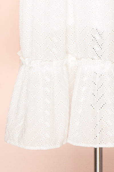Mativa White Embroidered Short Sleeve Dress | Boutique 1861 bottom