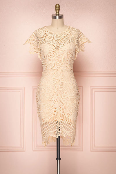Mattea Blush Crocheted Lace Fitted Cocktail Dress | Boutique 1861