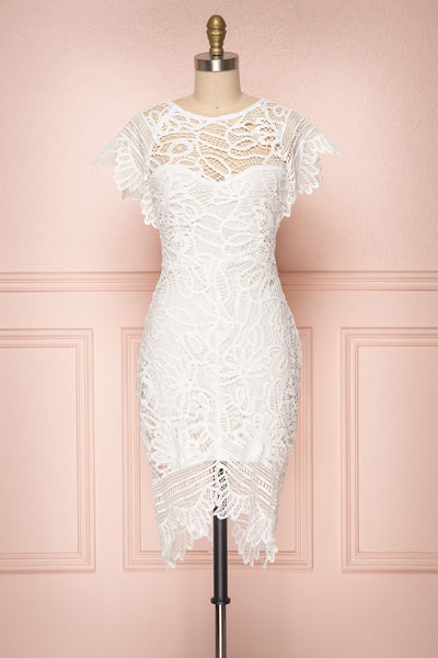 Mattea White Crocheted Lace Fitted Cocktail Dress | Boutique 1861