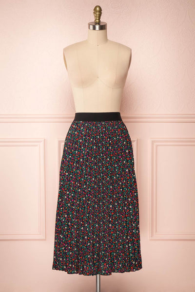 Maura Black & Colourful Floral Pleated Midi Skirt | FRONT VIEW | Boutique 1861
