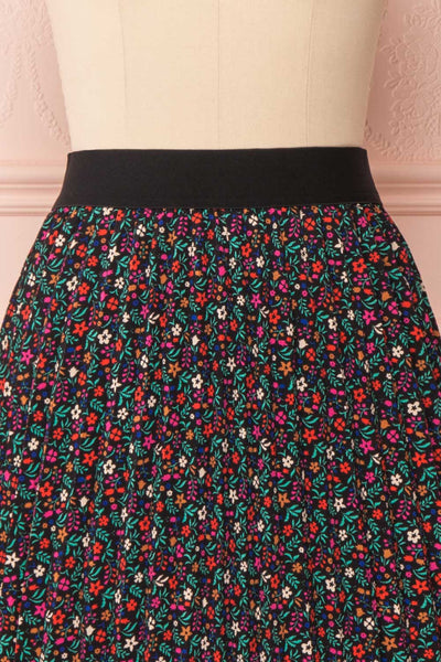 Maura Black & Colourful Floral Pleated Midi Skirt | FRONT CLOSE UP | Boutique 1861