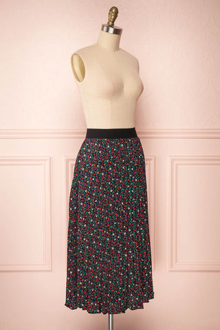 Maura Black & Colourful Floral Pleated Midi Skirt | SIDE VIEW | Boutique 1861