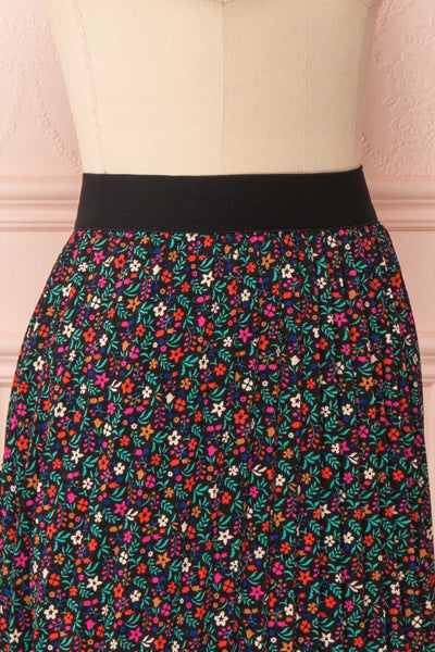 Maura Black & Colourful Floral Pleated Midi Skirt | SIDE CLOSE UP | Boutique 1861