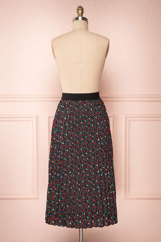 Maura Black & Colourful Floral Pleated Midi Skirt | BACK VIEW | Boutique 1861