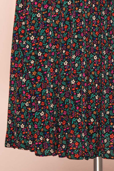 Maura Black & Colourful Floral Pleated Midi Skirt | BOTTOM CLOSE UP | Boutique 1861