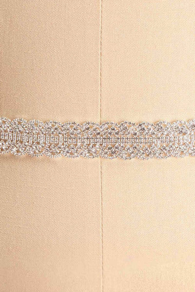 Mayerly White Ribbon Belt with Rhinestones | Boudoir 1861 close-up