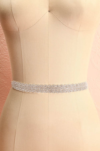Mayerly White Ribbon Belt with Rhinestones | Boudoir 1861