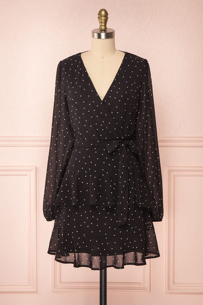 Mayifa Black Polka Dot A-Line Short Dress front view | Boutique 1861