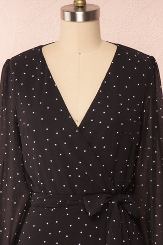 Mayifa Black Polka Dot A-Line Short Dress front close up | Boutique 1861