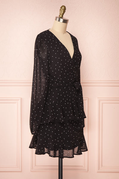 Mayifa Black Polka Dot A-Line Short Dress side view | Boutique 1861