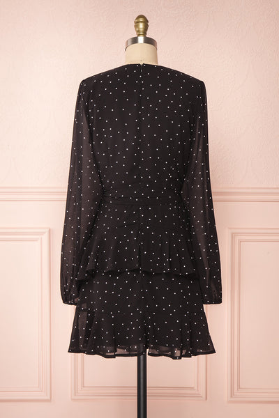 Mayifa Black Polka Dot A-Line Short Dress back view | Boutique 1861