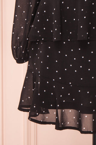 Mayifa Black Polka Dot A-Line Short Dress sleeve close up | Boutique 1861