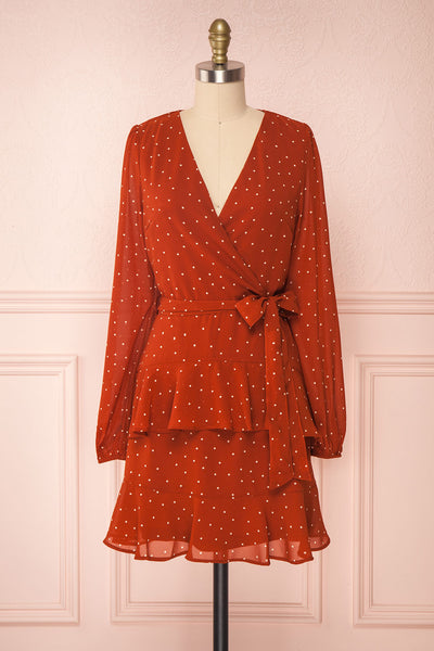 Mayifa Rust Orange Polka Dot A-Line Short Dress front view | Boutique 1861