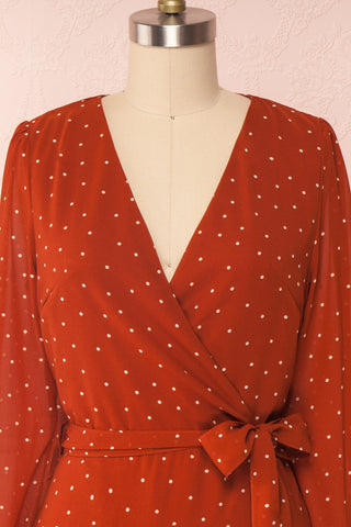 Mayifa Rust Orange Polka Dot A-Line Short Dress front close up | Boutique 1861