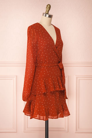 Mayifa Rust Orange Polka Dot A-Line Short Dress side view | Boutique 1861