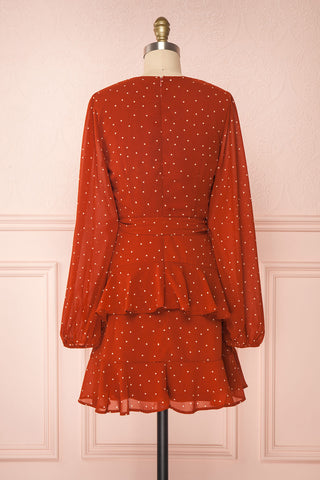 Mayifa Rust Orange Polka Dot A-Line Short Dress back view | Boutique 1861