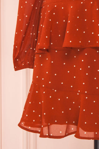 Mayifa Rust Orange Polka Dot A-Line Short Dress sleeve close up | Boutique 1861