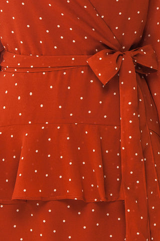 Mayifa Rust Orange Polka Dot A-Line Short Dress fabric close up | Boutique 1861