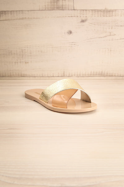 Set Megalo Beige & Gold Sandals & Clutch | La petite garçonne front view